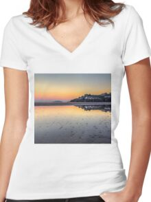 Abersoch Harbour beach reflections HBTRI Women's Fitted V-Neck T-Shirt