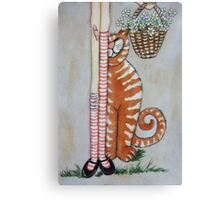 Cat & basket  Canvas Print