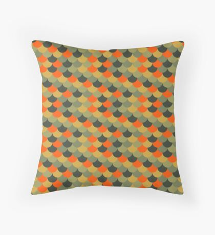 Orange & Green Fish Scale Pattern Throw Pillow