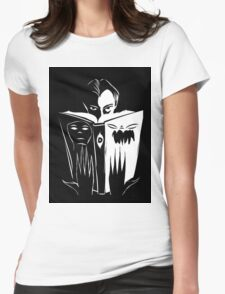 black and white book Womens Fitted T-Shirt