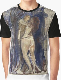 Edvard Munch - Death And Life. Vintage Expressionism, oil famous painting : sensual woman, woman and man, kiss, kissing lovers, relations, lovely couple, family. Graphic T-Shirt