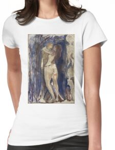 Edvard Munch - Death And Life. Vintage Expressionism, oil famous painting : sensual woman, woman and man, kiss, kissing lovers, relations, lovely couple, family. Womens Fitted T-Shirt