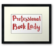 professional book lady in red watercolor Framed Print