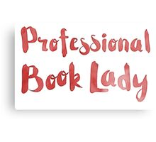 professional book lady in red watercolor Metal Print