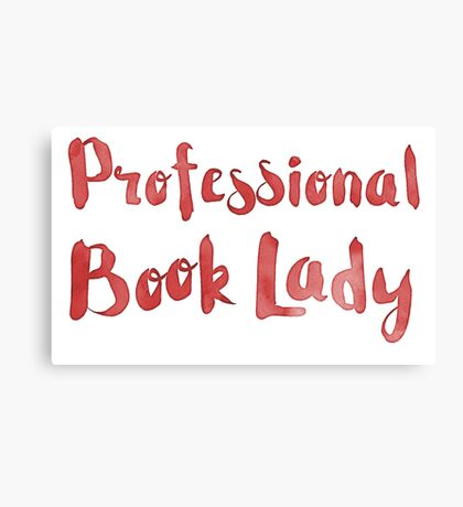 professional book lady in red watercolor Canvas Print