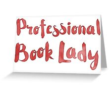 professional book lady in red watercolor Greeting Card