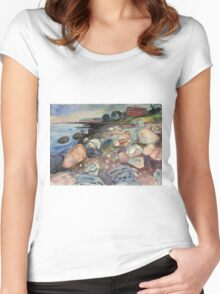 Edvard Munch - Shore With Red House. Munch - seashore landscape. Women's Fitted Scoop T-Shirt