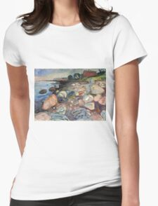 Edvard Munch - Shore With Red House. Munch - seashore landscape. Womens Fitted T-Shirt