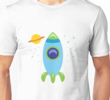 Blue Retro Rocket Unisex T-Shirt