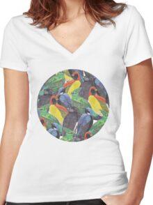 Birds Birds Birds Women's Fitted V-Neck T-Shirt