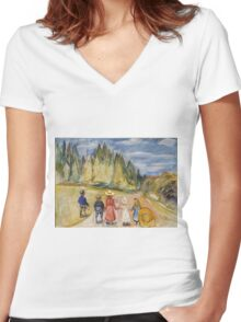 Edvard Munch - The Fairytale Forest. Munch - child portrait. Women's Fitted V-Neck T-Shirt