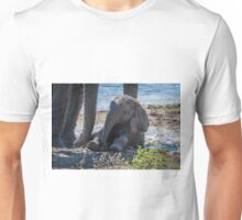 Baby elephant sitting in mud beside mother Unisex T-Shirt