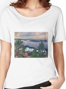 Edvard Munch - Train Smoke. Munch - lake landscape. Women's Relaxed Fit T-Shirt