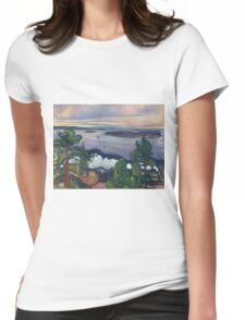 Edvard Munch - Train Smoke. Munch - lake landscape. Womens Fitted T-Shirt
