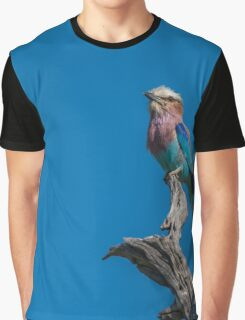 Lilac-breasted roller looking up from dead branch Graphic T-Shirt