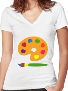 Colorful Paint Palette Women's Fitted V-Neck T-Shirt