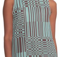 Hip Retro Geometric Abstract Piano Key Bars and Blocks Rectangle Shapes Tiled Pattern Puce and Robin's Egg Blue Contrast Tank