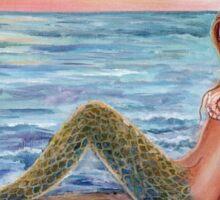 Selene Mermaid on the beach art by Renee Lavoie Sticker