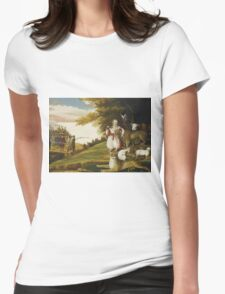 Edward Hicks - A Peaceable Kingdom With Quakers Bearing Banners. Hicks - animals. Womens Fitted T-Shirt