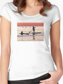 Child Art - Magical Sunset Women's Fitted Scoop T-Shirt