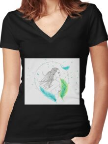 Feather love Women's Fitted V-Neck T-Shirt