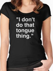 Tongue White Women's Fitted Scoop T-Shirt