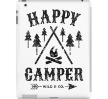 Happy Camper distressed black iPad Case/Skin