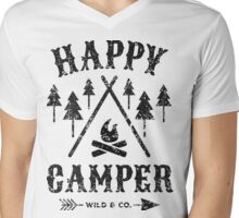 Happy Camper distressed black Mens V-Neck T-Shirt