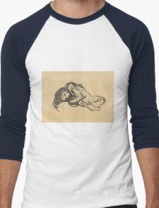 Egon Schiele -  Girl.  Schiele - woman portrait. Men's Baseball ¾ T-Shirt