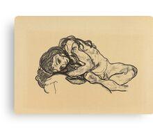 Egon Schiele -  Girl.  Schiele - woman portrait. Canvas Print