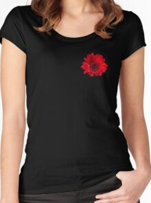 Close up photograph of a red gerbera flower Women's Fitted Scoop T-Shirt