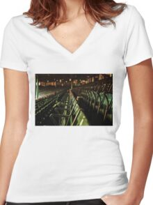 Bostons Fenway Park Baseball Vintage Seats Women's Fitted V-Neck T-Shirt