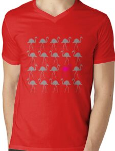 One Pink Flamingo in the Flock Mens V-Neck T-Shirt