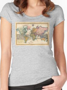World Map 1700s Antique Vintage Hemisphere Continents Geography Women's Fitted Scoop T-Shirt