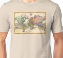 World Map 1700s Antique Vintage Hemisphere Continents Geography Unisex T-Shirt