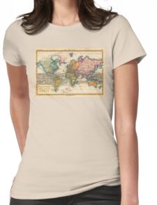 World Map 1700s Antique Vintage Hemisphere Continents Geography Womens Fitted T-Shirt