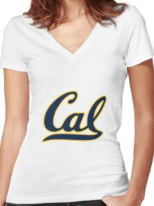 Cal Women's Fitted V-Neck T-Shirt