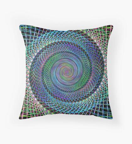 Multicolor spiral fractal Throw Pillow