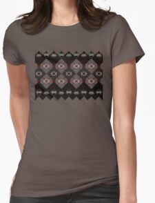 Pixelated space invaders ugly sweater Womens Fitted T-Shirt