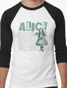 Alice In Wonderland with Text  Men's Baseball ¾ T-Shirt