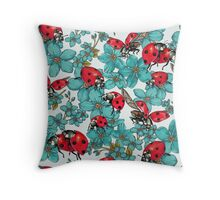 Happy Ladybugs with flowers Throw Pillow