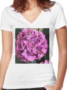 Hydrangea Blossoms In Violet Women's Fitted V-Neck T-Shirt