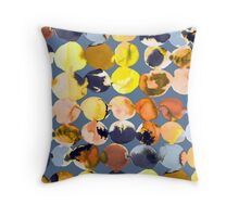 Yellow ink dots Throw Pillow