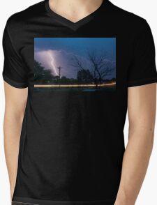 17th Street Car Lights and Lightning Strikes Mens V-Neck T-Shirt