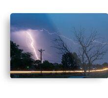 17th Street Car Lights and Lightning Strikes Metal Print