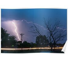 17th Street Car Lights and Lightning Strikes Poster