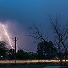 17th Street Neon Lights and Lightning Strikes by Bo Insogna