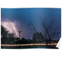 17th Street Neon Lights and Lightning Strikes Poster