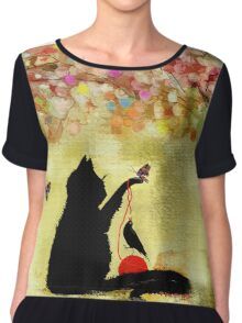 The Owl Watches Kitty at Play  Chiffon Top