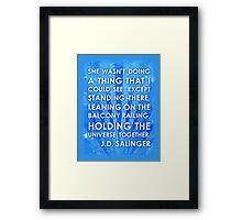 J.D. Salinger Quote - Saphire Framed Print